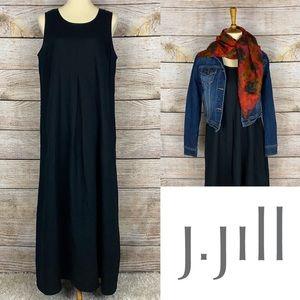 J Jill Linen Black Scoop Tank Lagenlook Maxi Dress